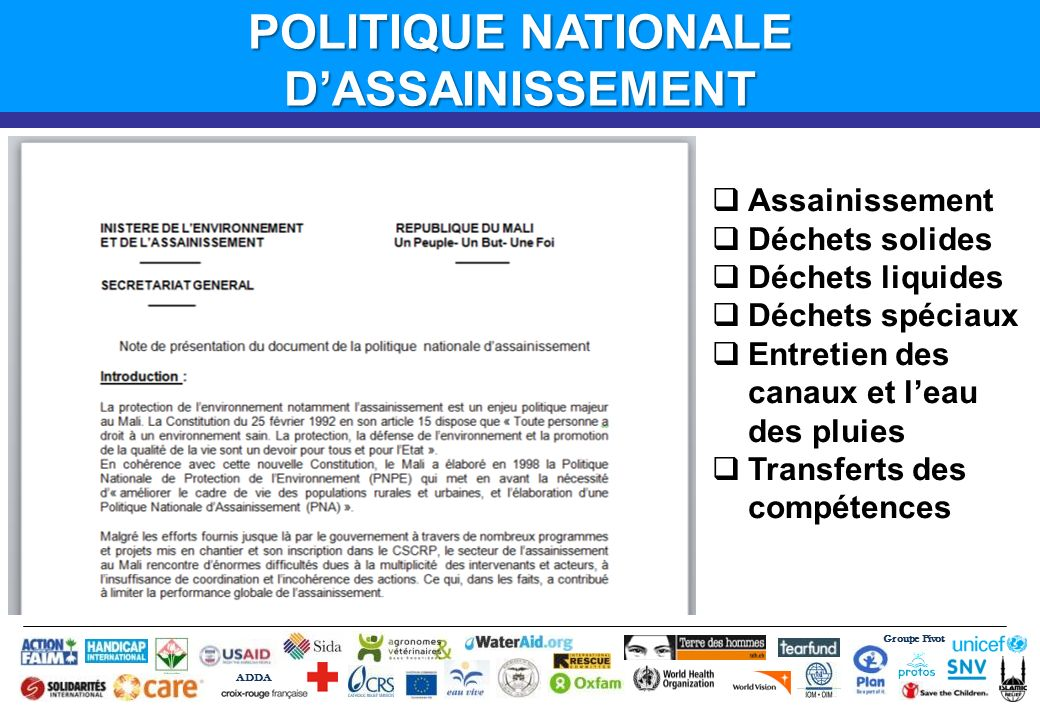 POLITIQUE NATIONALE D'ASSAINISSEMENT