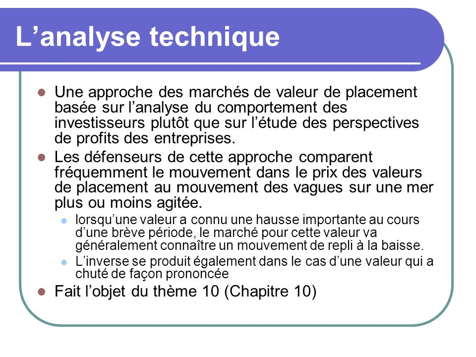 L'analyse technique