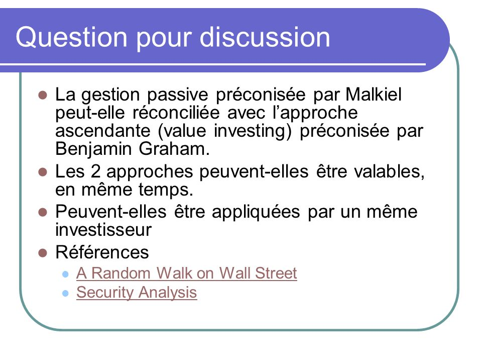 Question pour discussion