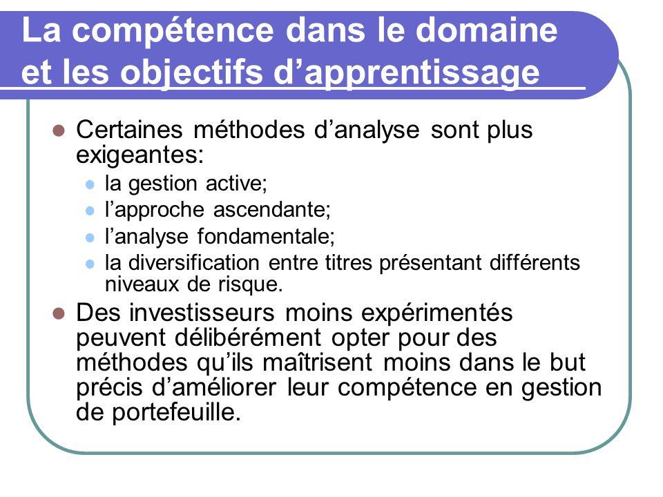 La compétence dans le domaine et les objectifs d'apprentissage