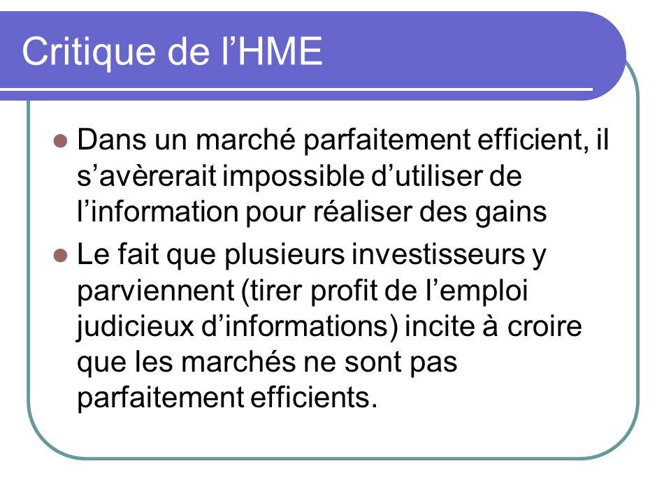 Critique de l'HME Dans un marché parfaitement efficient, il s'avèrerait impossible d'utiliser de l'information pour réaliser des gains.