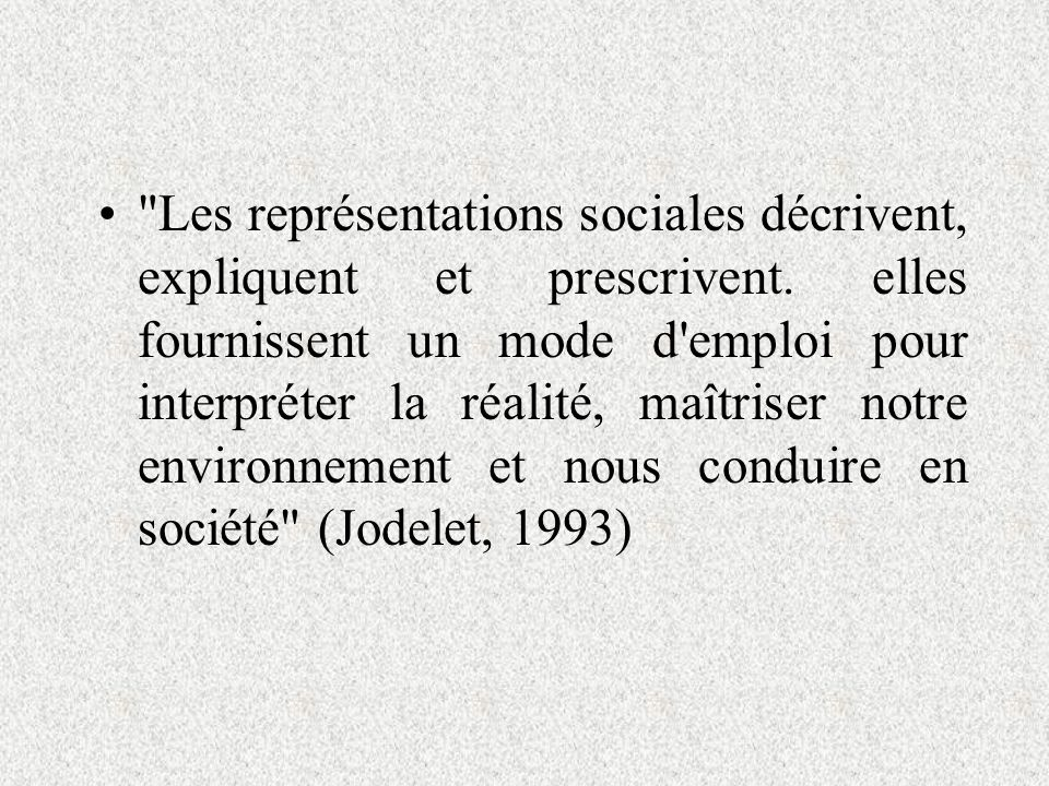 Les représentations sociales décrivent, expliquent et prescrivent