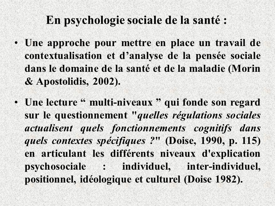En psychologie sociale de la santé :