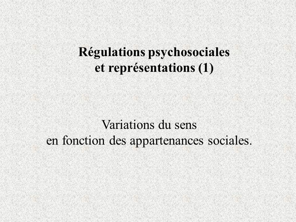 Régulations psychosociales et représentations (1)