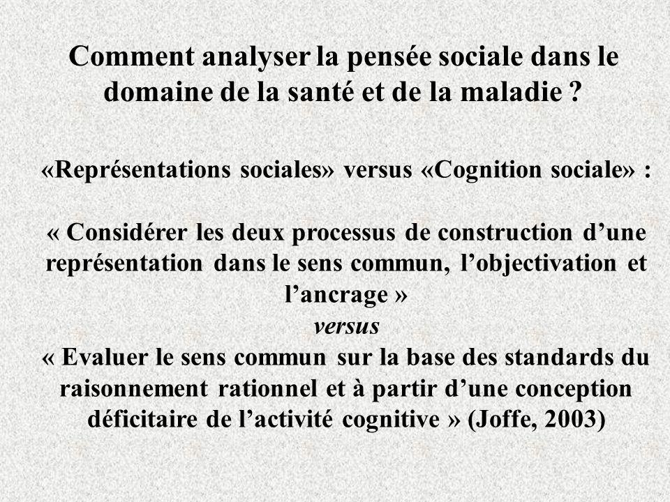 Comment analyser la pensée sociale dans le domaine de la santé et de la maladie