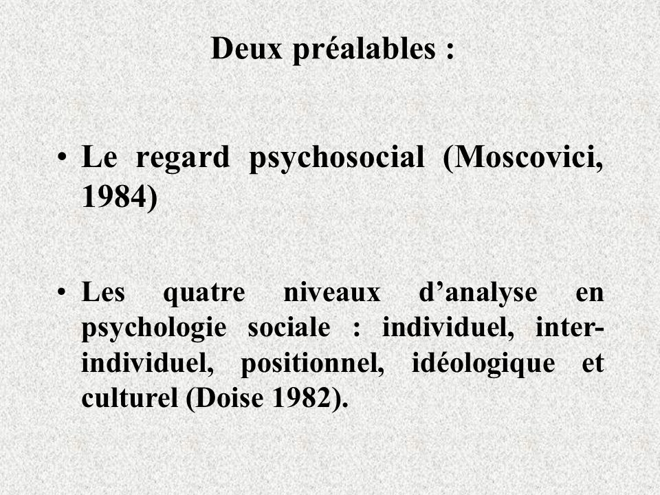 Le regard psychosocial (Moscovici, 1984)