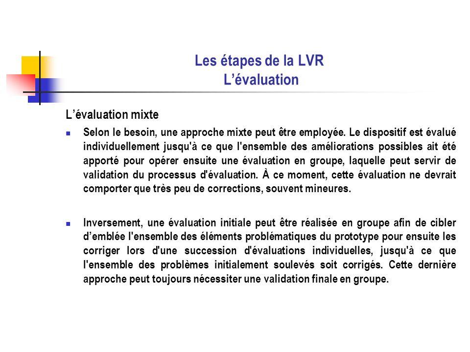 Les étapes de la LVR L'évaluation
