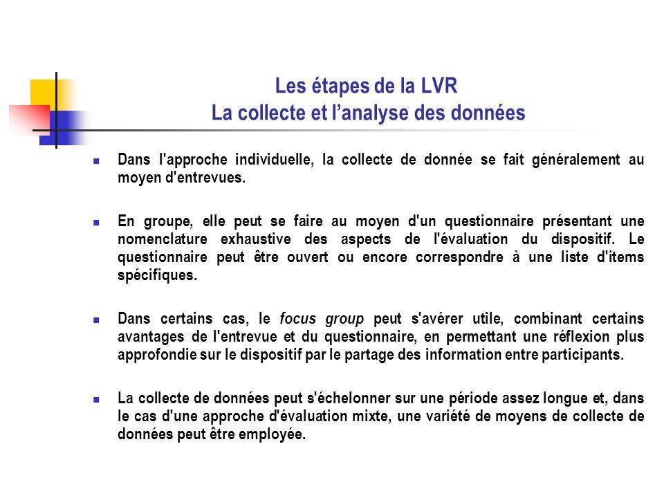 Les étapes de la LVR La collecte et l'analyse des données