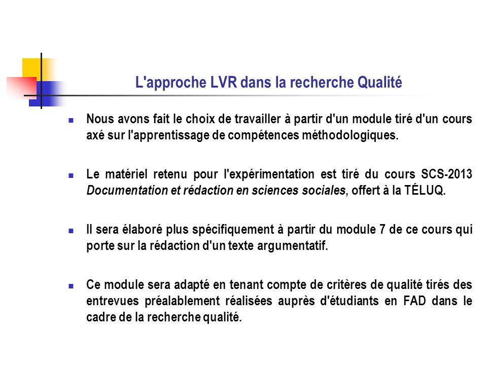L approche LVR dans la recherche Qualité