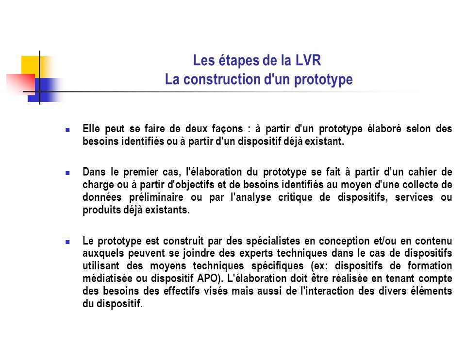 Les étapes de la LVR La construction d un prototype