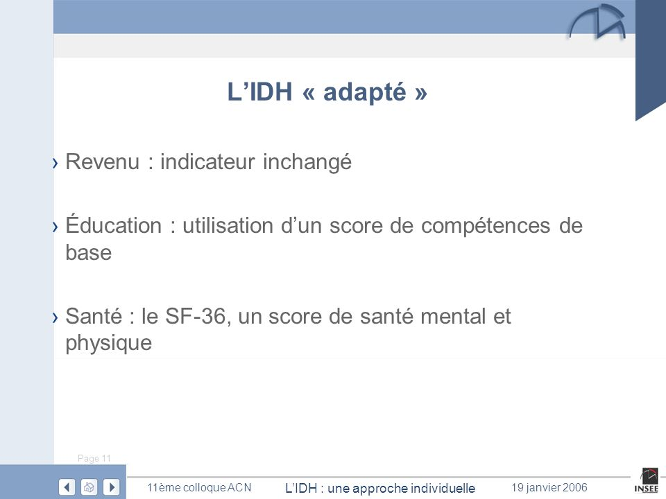L'IDH « adapté » Revenu : indicateur inchangé