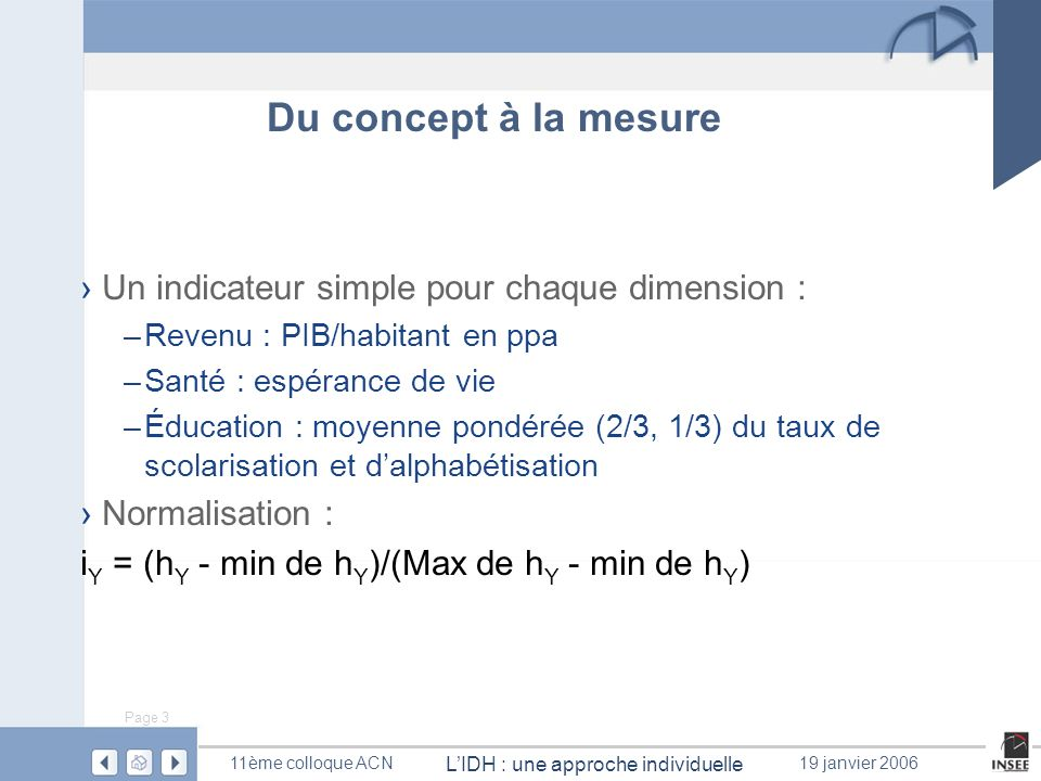 Du concept à la mesure Un indicateur simple pour chaque dimension :