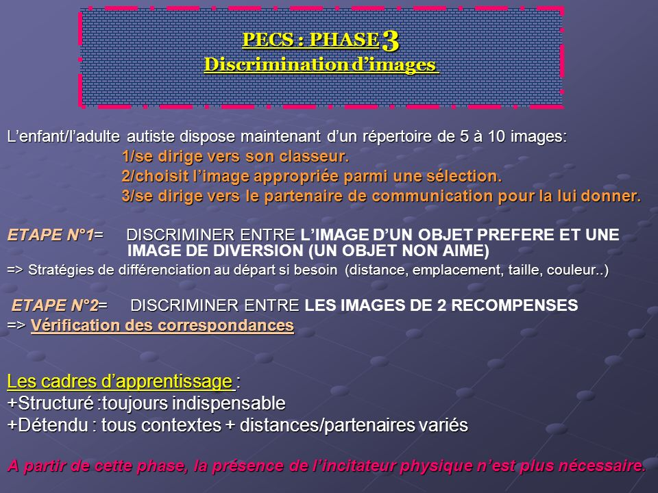 PECS : PHASE 3 Discrimination d'images