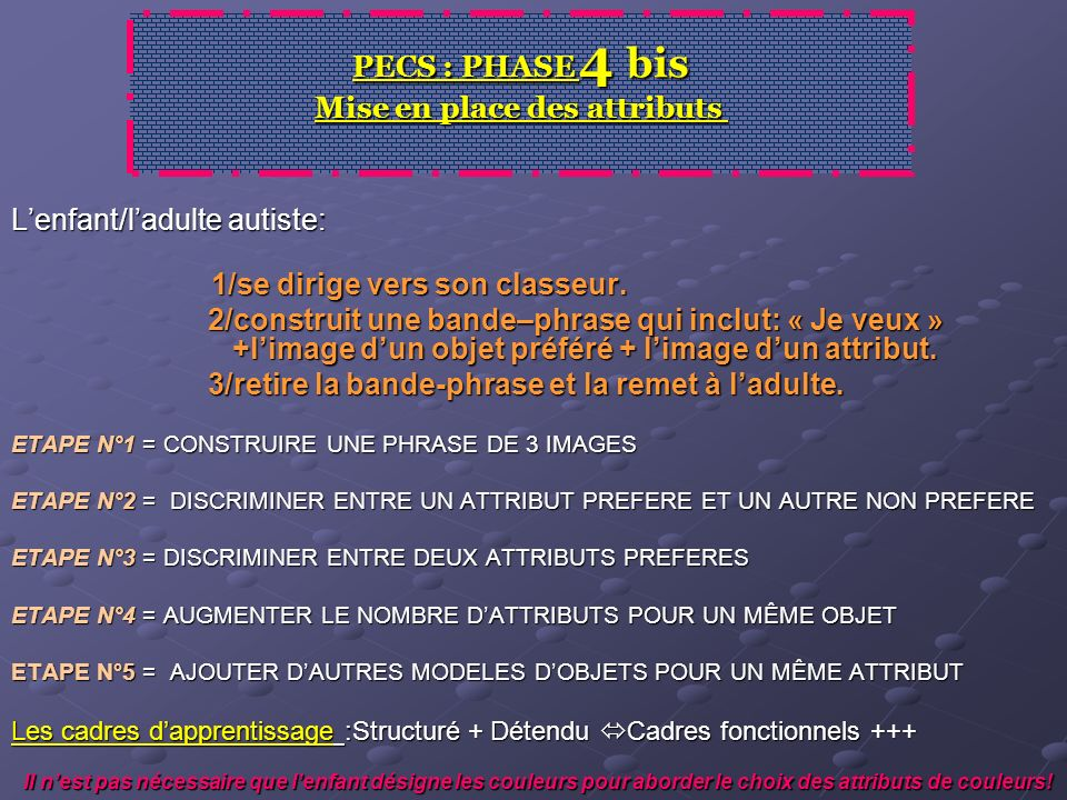 PECS : PHASE 4 bis Mise en place des attributs
