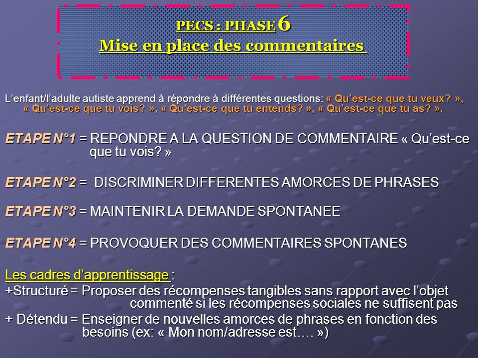PECS : PHASE 6 Mise en place des commentaires