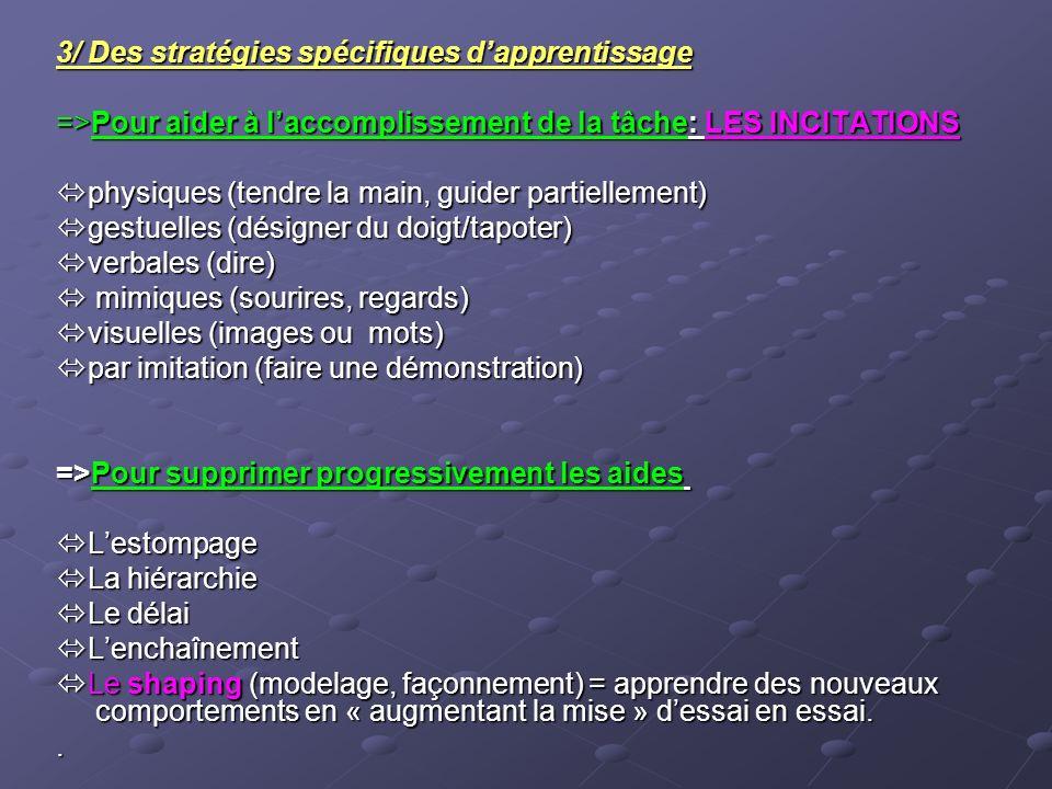 3/ Des stratégies spécifiques d'apprentissage
