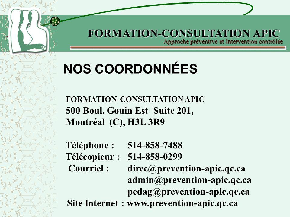 NOS COORDONNÉES FORMATION-CONSULTATION APIC