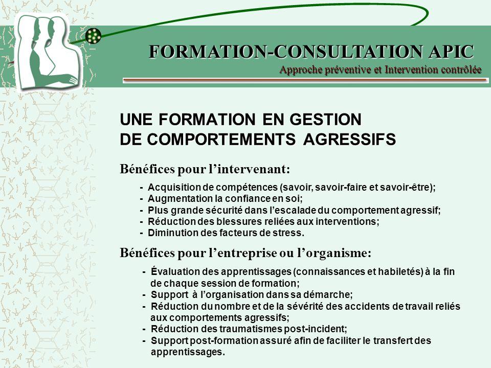 UNE FORMATION EN GESTION DE COMPORTEMENTS AGRESSIFS