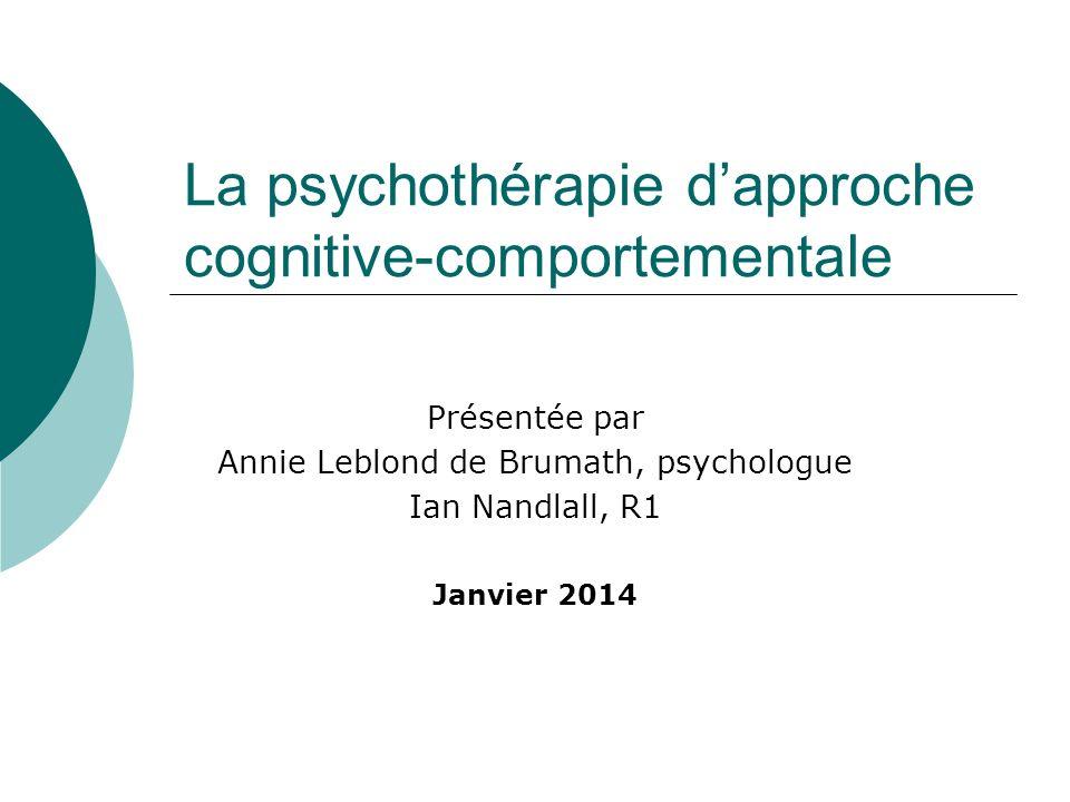 La psychothérapie d'approche cognitive-comportementale