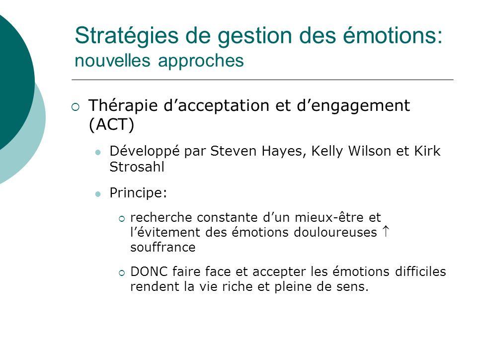Stratégies de gestion des émotions: nouvelles approches