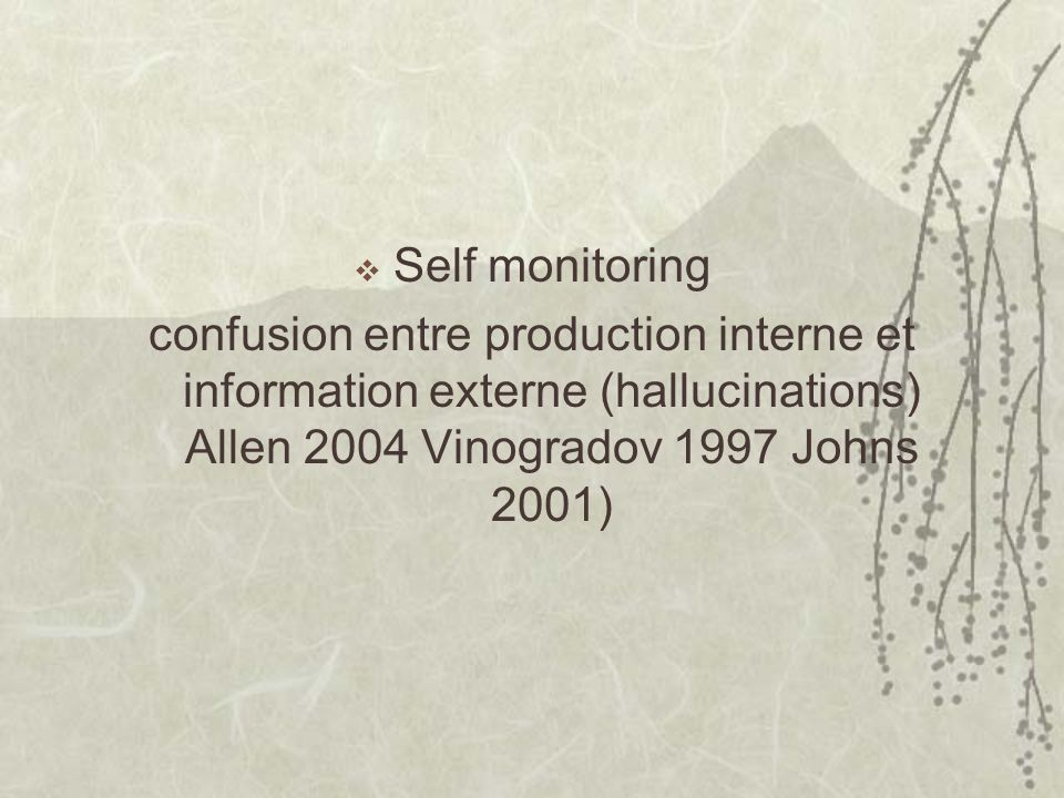 Self monitoring confusion entre production interne et information externe (hallucinations) Allen 2004 Vinogradov 1997 Johns 2001)