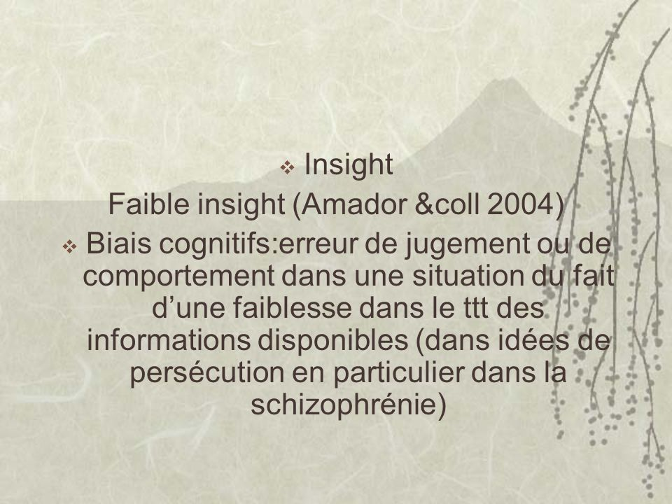 Faible insight (Amador &coll 2004)