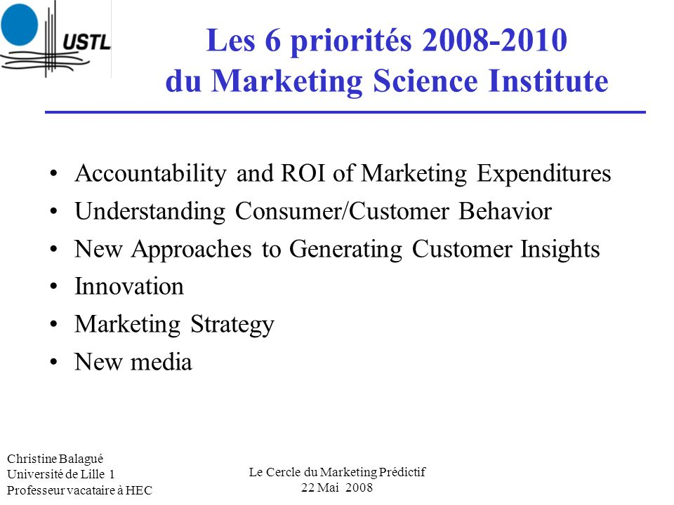 Les 6 priorités 2008-2010 du Marketing Science Institute