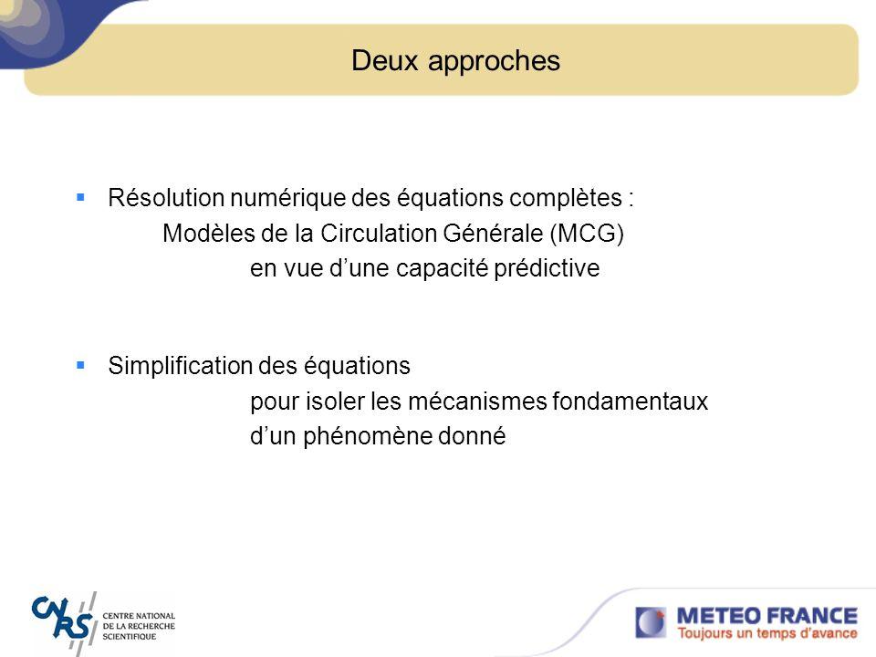 Deux approches Résolution numérique des équations complètes :