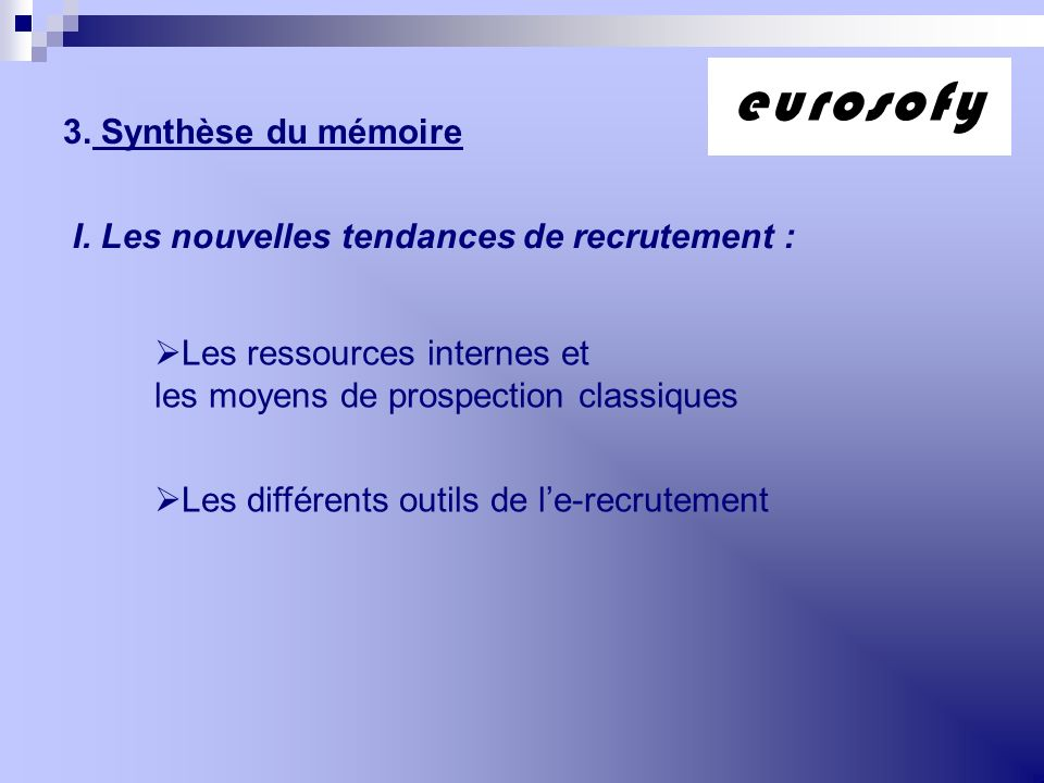 eurosofy 3. Synthèse du mémoire