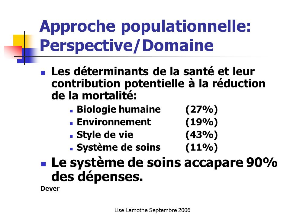 Approche populationnelle: Perspective/Domaine