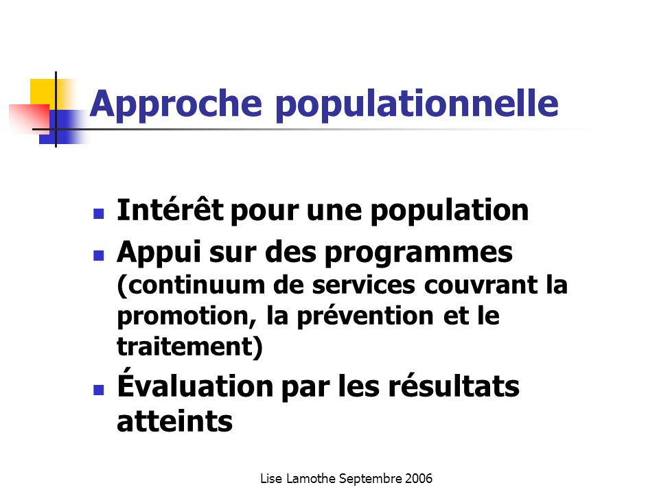 Approche populationnelle