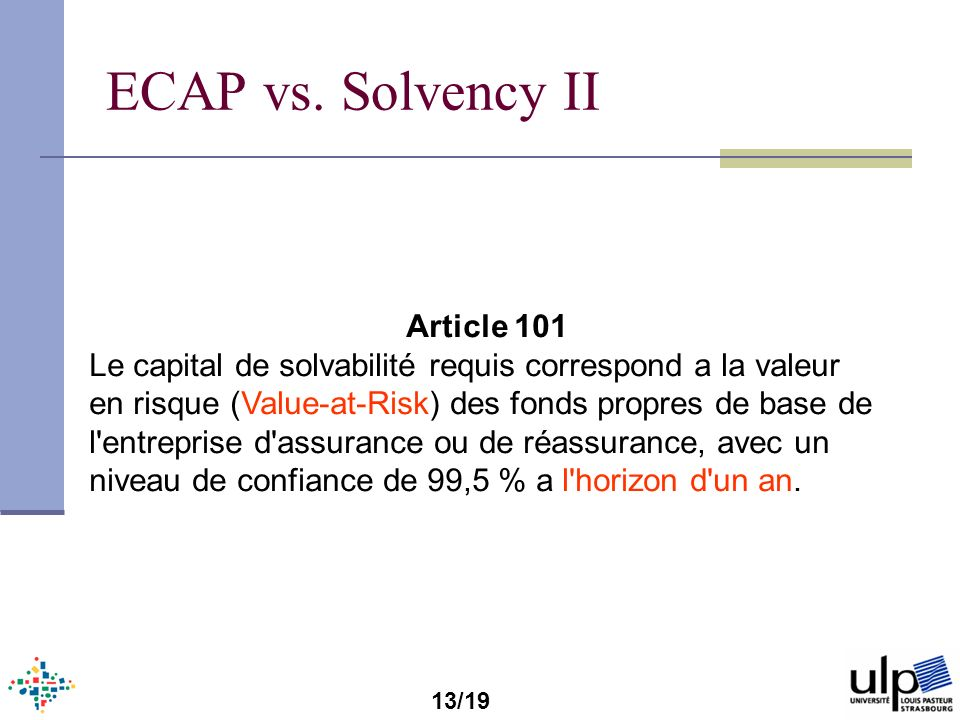 ECAP vs. Solvency II Article 101