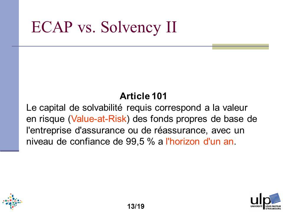 ECAP vs. Solvency II Article 101