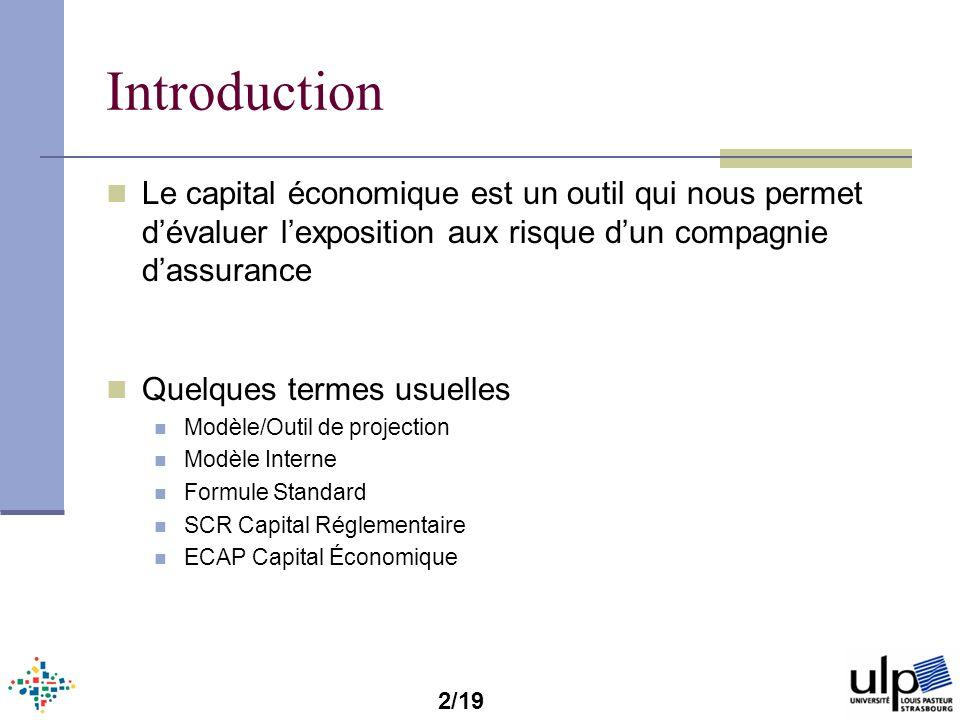 Introduction Le capital économique est un outil qui nous permet d'évaluer l'exposition aux risque d'un compagnie d'assurance.