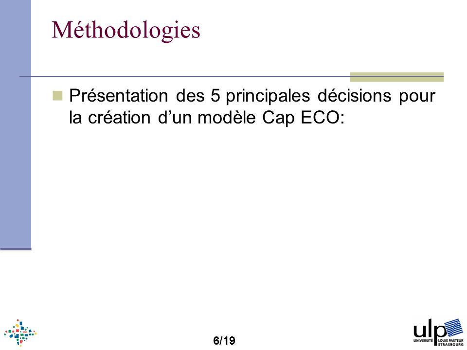 Méthodologies Présentation des 5 principales décisions pour la création d'un modèle Cap ECO: 6/19