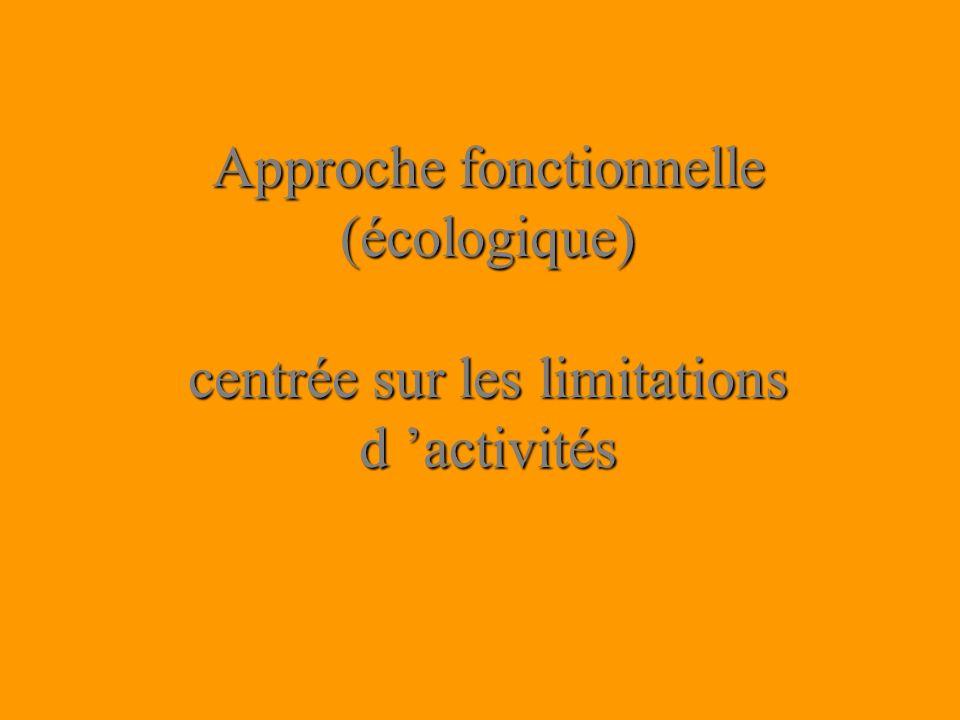 Approche fonctionnelle (écologique) centrée sur les limitations d 'activités