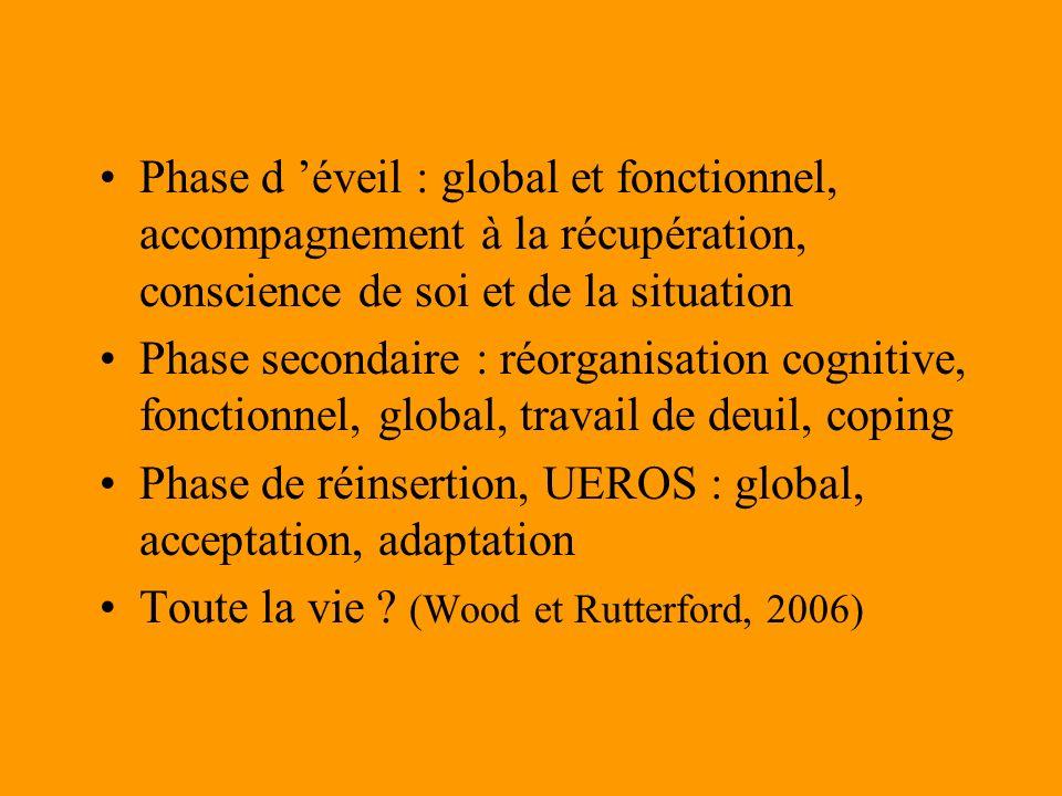 Phase d 'éveil : global et fonctionnel, accompagnement à la récupération, conscience de soi et de la situation