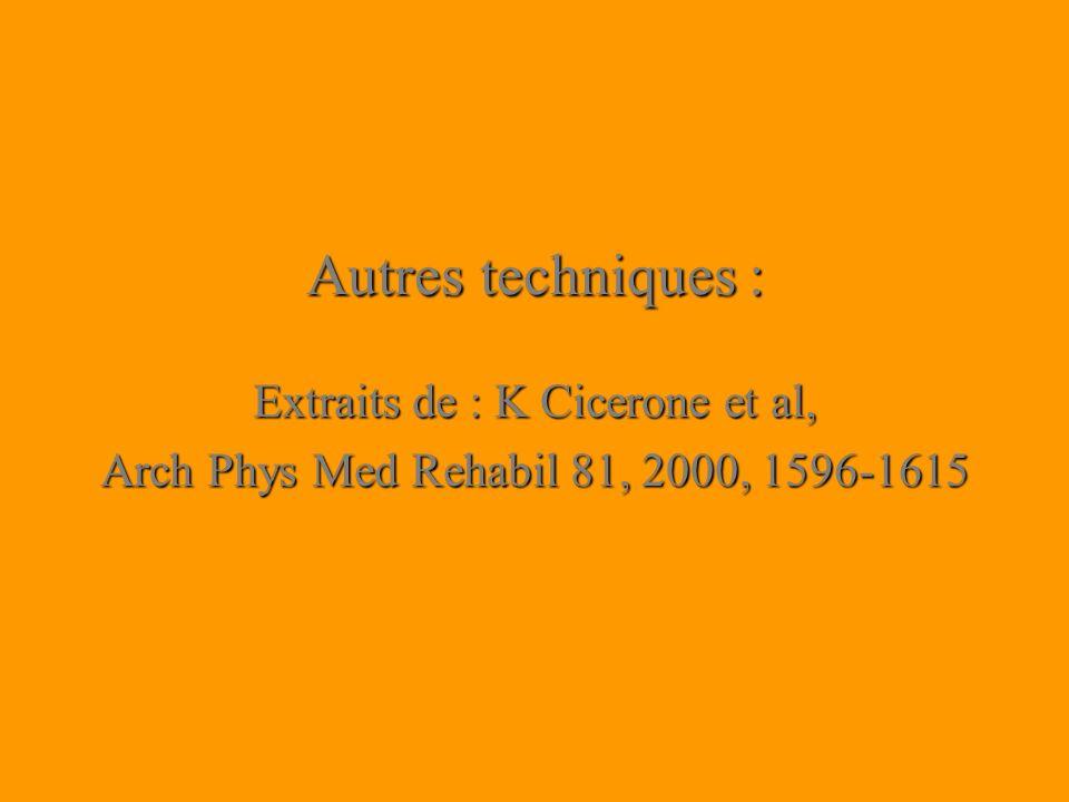 Extraits de : K Cicerone et al,