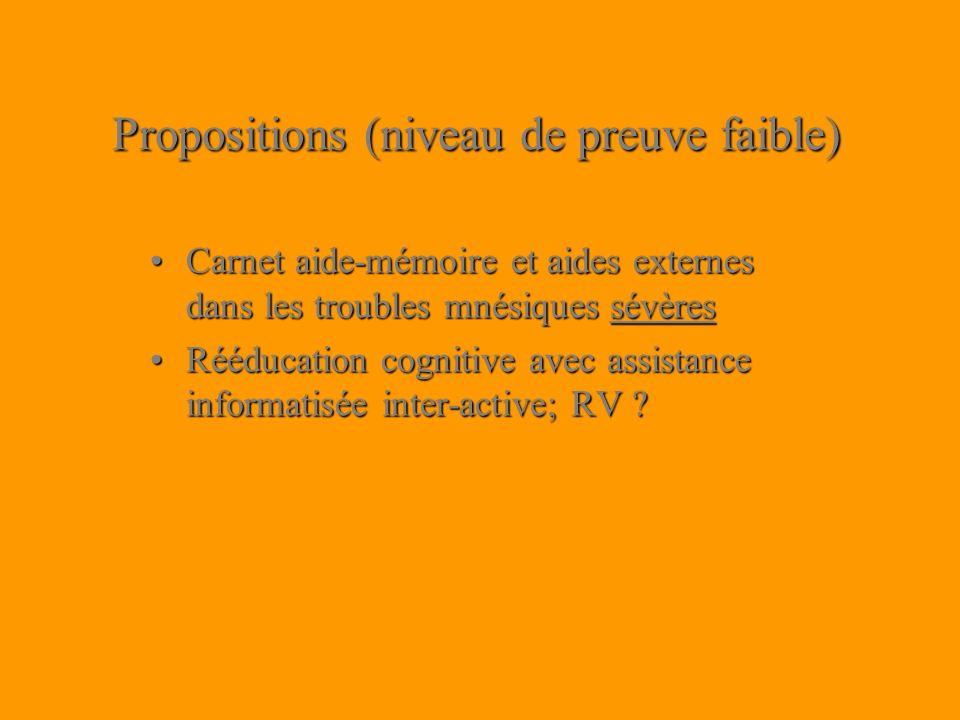Propositions (niveau de preuve faible)