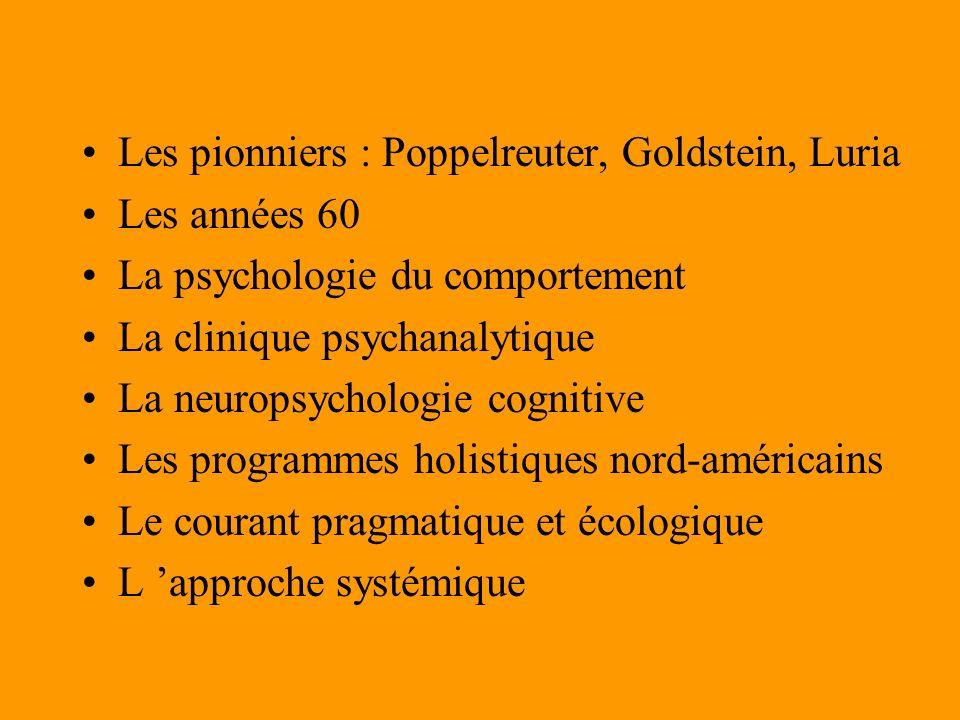 Les pionniers : Poppelreuter, Goldstein, Luria