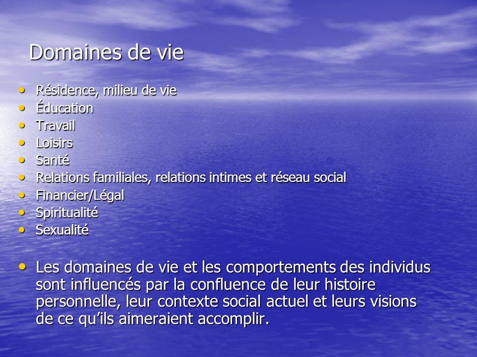 Domaines de vie Résidence, milieu de vie. Éducation. Travail. Loisirs. Santé. Relations familiales, relations intimes et réseau social.