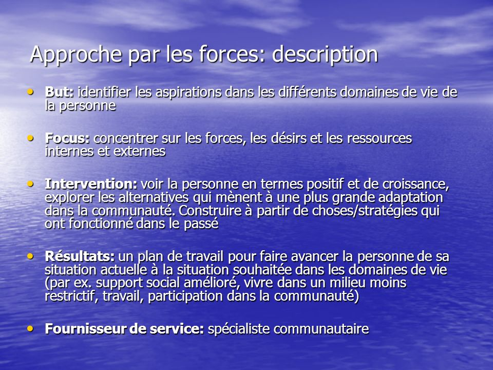 Approche par les forces: description