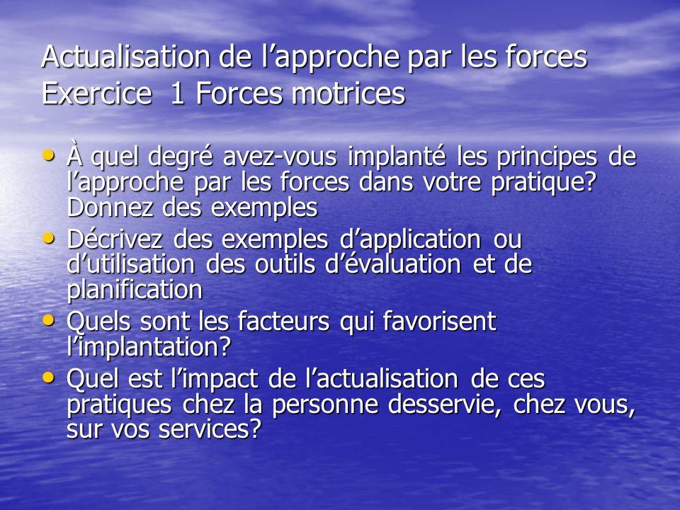 Actualisation de l'approche par les forces Exercice 1 Forces motrices