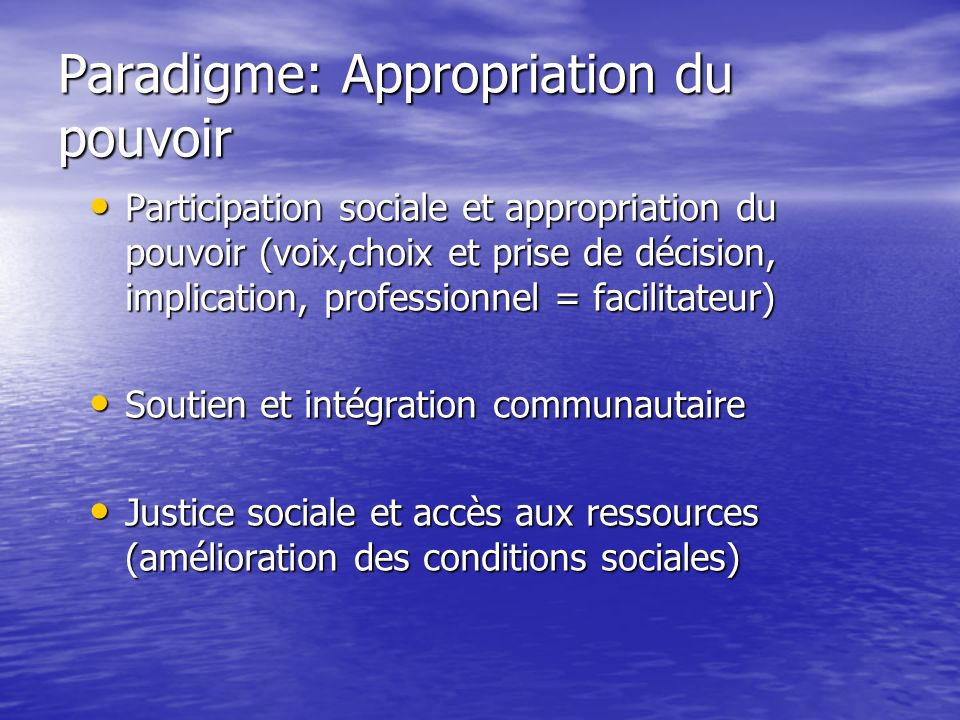 Paradigme: Appropriation du pouvoir