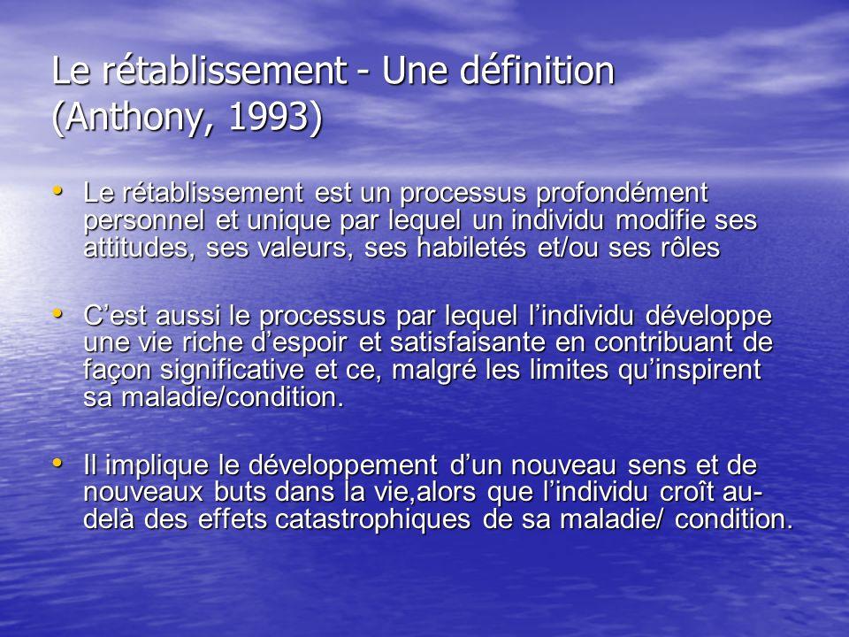 Le rétablissement - Une définition (Anthony, 1993)