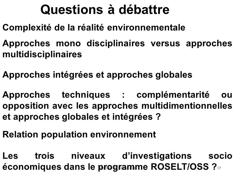 Questions à débattre Complexité de la réalité environnementale