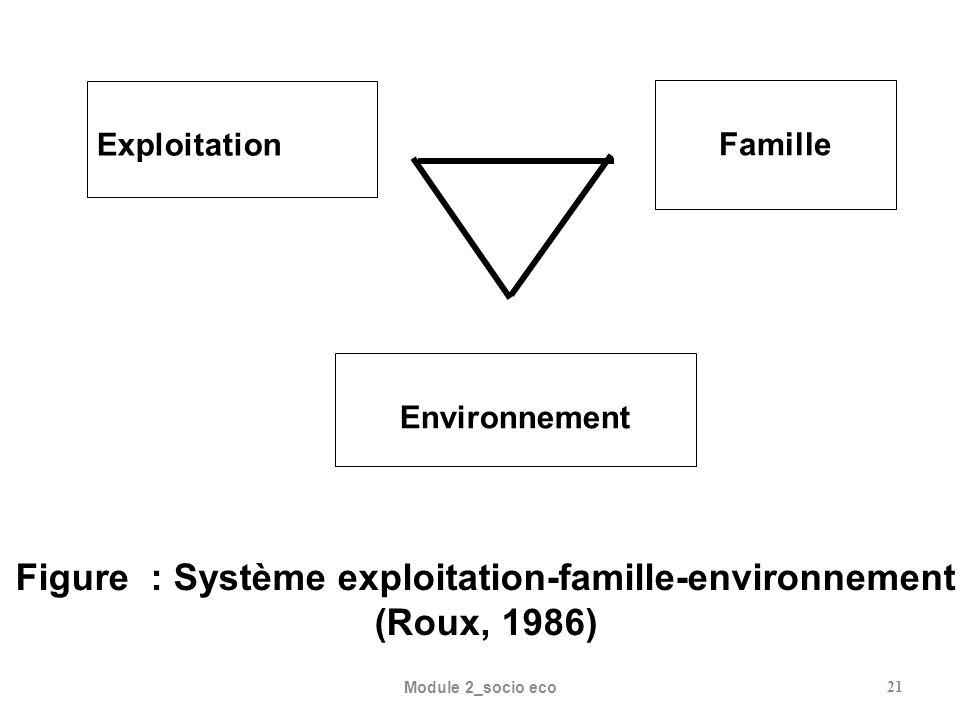 Figure : Système exploitation-famille-environnement (Roux, 1986)