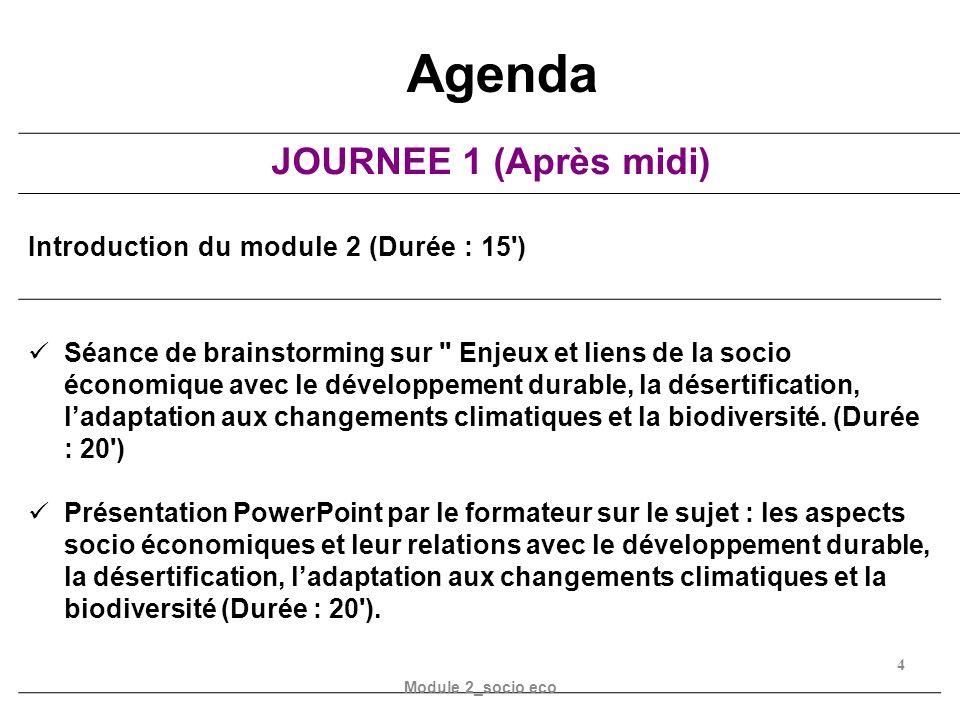 Agenda JOURNEE 1 (Après midi) Introduction du module 2 (Durée : 15 )