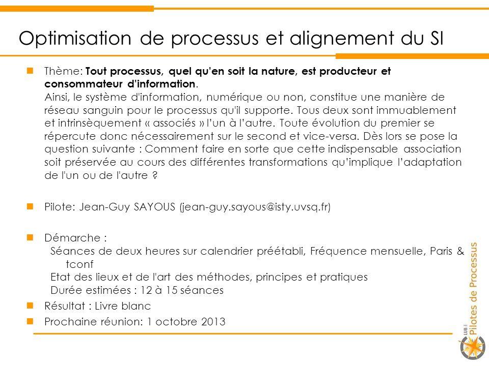 Optimisation de processus et alignement du SI
