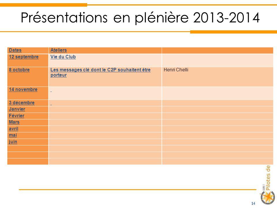 Présentations en plénière 2013-2014